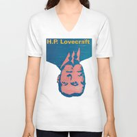 lovecraft V-neck T-shirts featuring H.P. Lovecraft by @DrunkSatanRobot