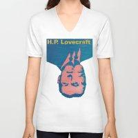 lovecraft V-neck T-shirts featuring H.P. Lovecraft by @DrunkSatanRobot