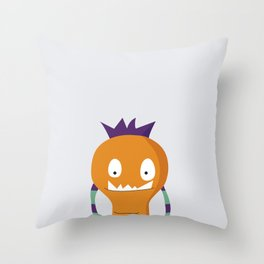 Orange monster Throw Pillow