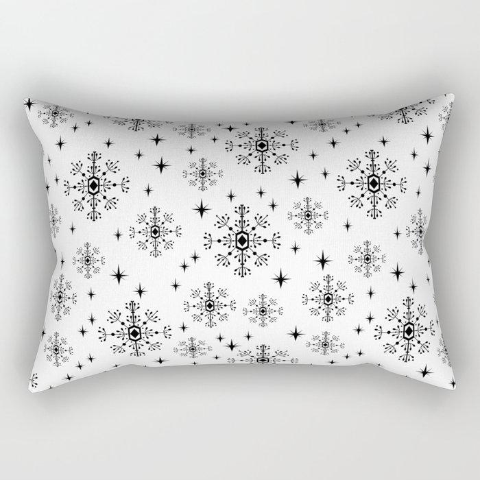 Snowflakes winter christmas minimal holiday black and white decor gifts Rectangular Pillow