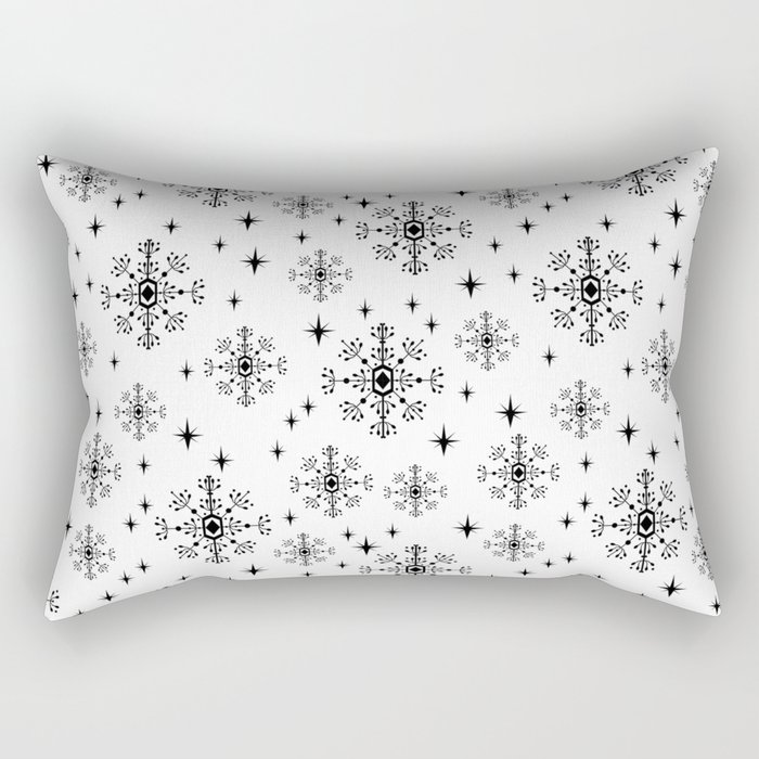 Snowflakes winter christmas minimal holiday black and white decor gifts Rectangular Pillow