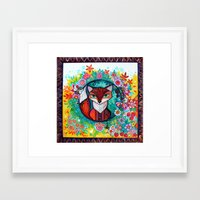 tatoo Framed Art Prints featuring tatoo fox by oxana zaika