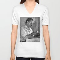 hemingway V-neck T-shirts featuring Ernest Hemingway  by Limitless Design