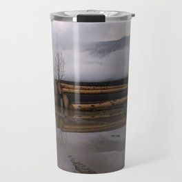 Timber Logs With A Foggy Mountain View Travel Mug