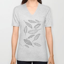 Feather Leaves in Black White Unisex V-Neck