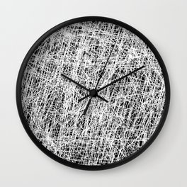 Web Of Confusion - Black and white, abstract painting Wall Clock