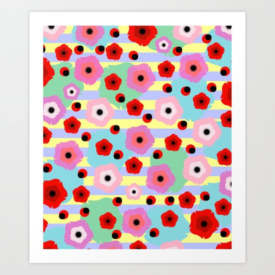 Poppies and stripes Art Print