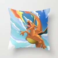 charizard Throw Pillows featuring Charizard by Pablo Rey
