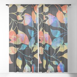 Colored Leaf Pattern Sheer Curtain