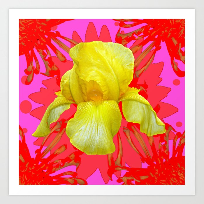 YELLOW IRIS MODERN ART RED FLORAL ABSTRACT Art Print by sharlesart ...