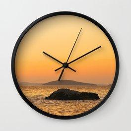 Beautiful Lakescape Yellow Orange Sunset Sky #decor #society6 #buyart Wall Clock