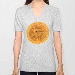 Sun Drawing Gold and Blue Unisex V-Neck