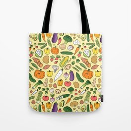 Veggie Friends Doodle Tote Bag