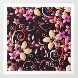 Flowers wall paper 6 Art Print