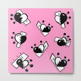 Hearts with Stitches - Black with Pink Metal Print