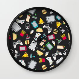 Gamer Video Game Controllers Fast Food Pattern Wall Clock