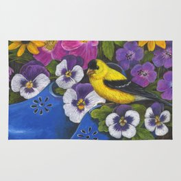 Goldfinch and Blue Garden Clogs Rug