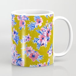 French blue and blush pink watercolor flowers on mustard yellow bark cloth Coffee Mug