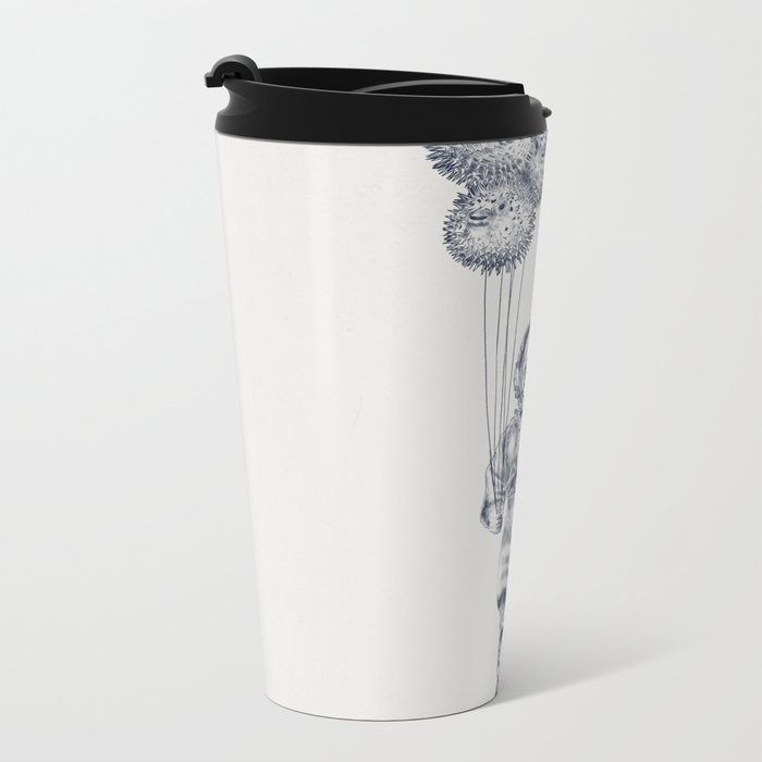 Balloon Fish - monochrome option Metal Travel Mug