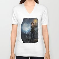 tomb raider V-neck T-shirts featuring Rise of the Tomb Raider - v01 by trixdraws