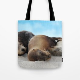 Sea lions family sleeping together on beach Tote Bag