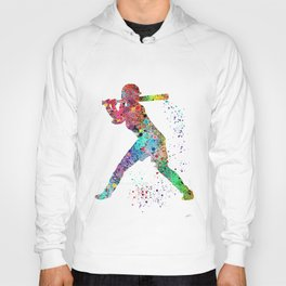 Baseball Softball Player Sports Art Print Watercolor Print Girl's softball Hoody