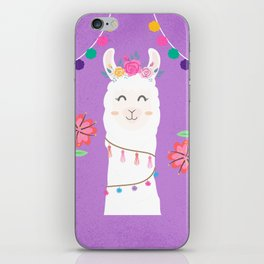 Happy Boho Llama with Pompoms in Purple iPhone Skin