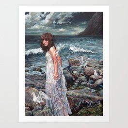 The Parting, Oil Painting Portrait of Woman on Rocky Beach with Seagulls During a Storm Art Print