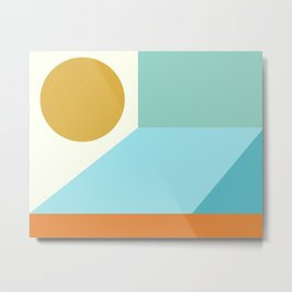 Angles and Shapes in Aqua, Turquoise, Orange, and Gold Metal Print
