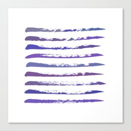 Stripes in purple and blue, hand painted Canvas Print