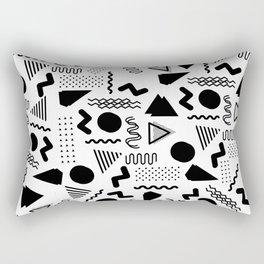 Retro abstract geometrical black white 80's pattern Rectangular Pillow