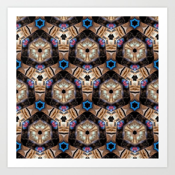 Till All Are One - Hexagonal Abstract Repeating Pattern Art Print