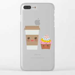 coffee in Paper thermo cup with brown cap and cup holder, chocolate cupcake. Kawaii Clear iPhone Case