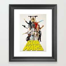 Star War Action Figures Poster - First 12 - Vintage Texture Framed Art Print