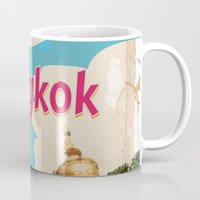 travel poster Mugs featuring Bangkok Vintage Travel Poster by Nick's Emporium Gallery