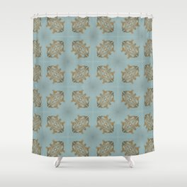 Soft Teal Blue & Gold No. 6 Shower Curtain