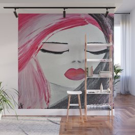 Shy Girl. Abstract Pink Girl. Pink Lips. Pink Hair. Jodilynpaintings. Eyelashes. Gift for All Girls. Wall Mural