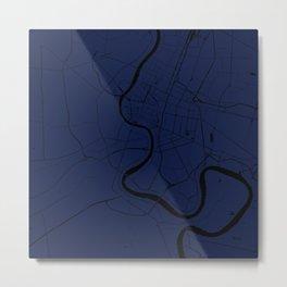 Bangkok Thailand Minimal Street Map - Navy Blue and Black Metal Print