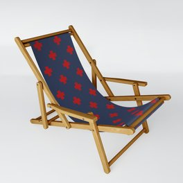 Red Swiss Cross Pattern on Navy Blue background Sling Chair