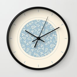 Cream on Blue Assorted Leaf Silhouette Pattern Wall Clock