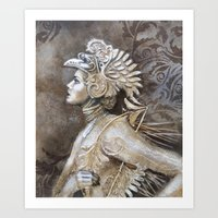 gladiator Art Prints featuring Gladiator by BLACK ANGELS AND PINK INSECTS