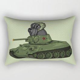Scottish Terrier Dog Sitting in Toy Tank Rectangular Pillow