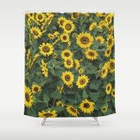 sunflower Shower Curtains featuring Sunflower by adriaaannn