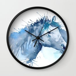Watercolor Horse Portrait Abstract Paint Splatter Wall Clock
