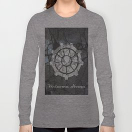 Fallout inspired welcome home, vault door, print, poster, wall art, neutral Long Sleeve T-shirt
