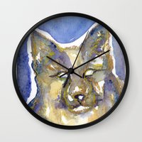 copper Wall Clocks featuring Copper by Bootsies Watercolor Kittys