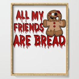 Gingerbread Zombies Halloween Gingerbread Man Pun Light Serving Tray