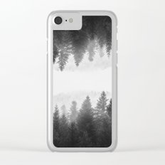 Black and white foggy mirrored forest Clear iPhone Case