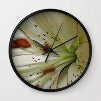 burgundy Wall Clocks featuring Burgundy Lining by Astrid Ewing