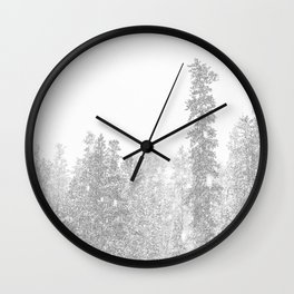 Snowy Slope // Mountain Ski Landscape Photography Black and White Snowboarding Winter Decor Wall Clock